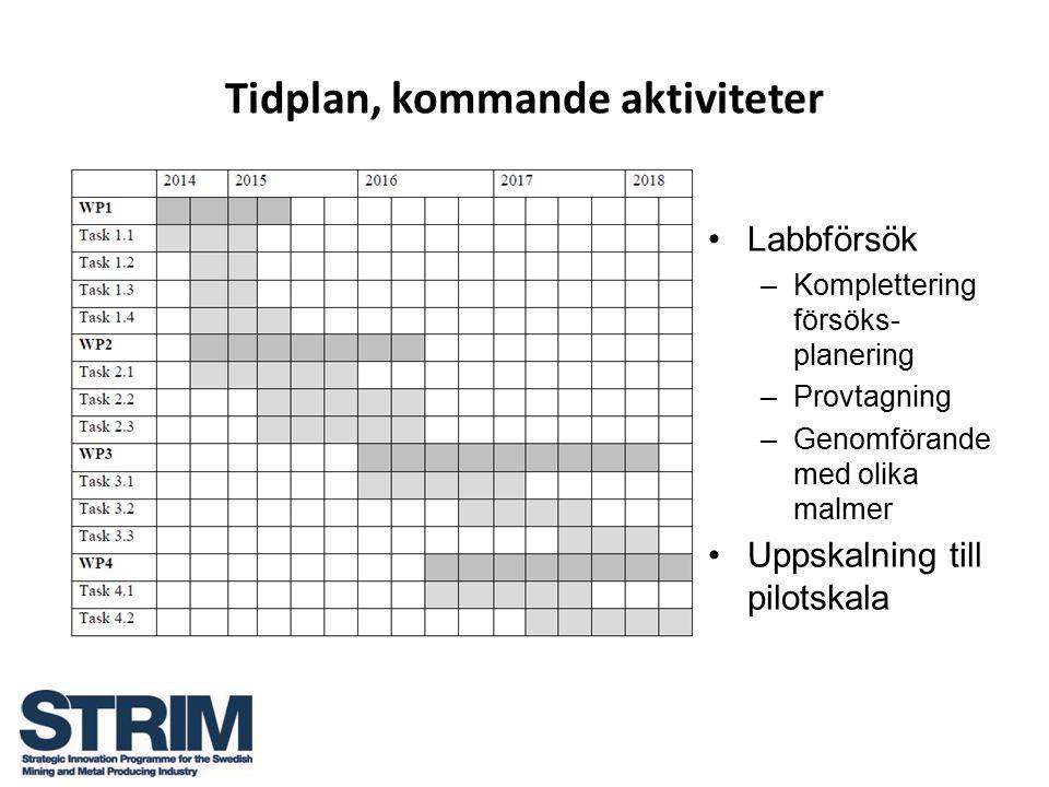 Tidplan, kommande aktiviteter Labbförsök –Komplettering försöks- planering –Provtagning –Genomförande med olika malmer Uppskalning till pilotskala