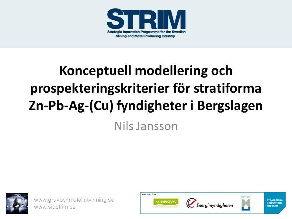 www.gruvochmetallutvinning.se www.siostrim.se Konceptuell modellering och prospekteringskriterier för stratiforma Zn-Pb-Ag-(Cu) fyndigheter i Bergslag