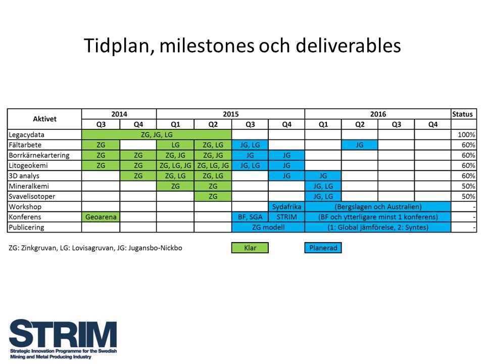 Tidplan, milestones och deliverables