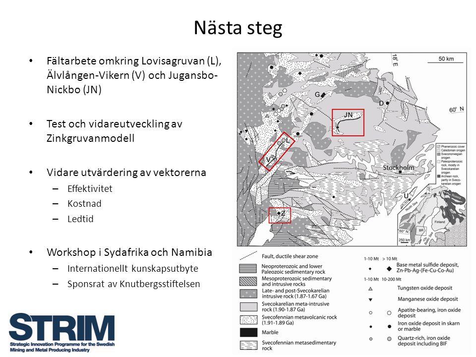 Nästa steg Fältarbete omkring Lovisagruvan (L), Älvlången-Vikern (V) och Jugansbo- Nickbo (JN) Test och vidareutveckling av Zinkgruvanmodell Vidare ut