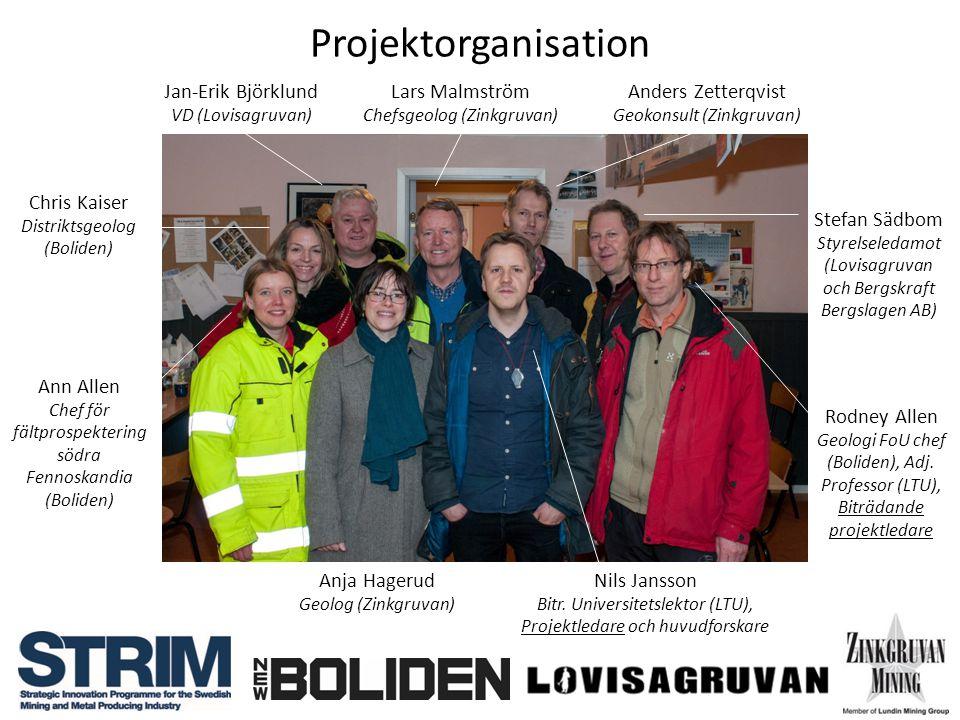 Projektorganisation Nils Jansson Bitr. Universitetslektor (LTU), Projektledare och huvudforskare Anja Hagerud Geolog (Zinkgruvan) Rodney Allen Geologi