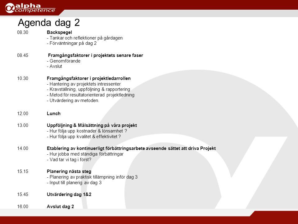 Agenda dag 2 08.30Backspegel - Tankar och reflektioner på gårdagen - Förväntningar på dag 2 08.45 Framgångsfaktorer i projektets senare faser - Genomförande - Avslut 10.30Framgångsfaktorer i projektledarrollen - Hantering av projektets intressenter - Kravställning, uppföljning & rapportering - Metod för resultatorienterad projektledning - Utvärdering av metoden.