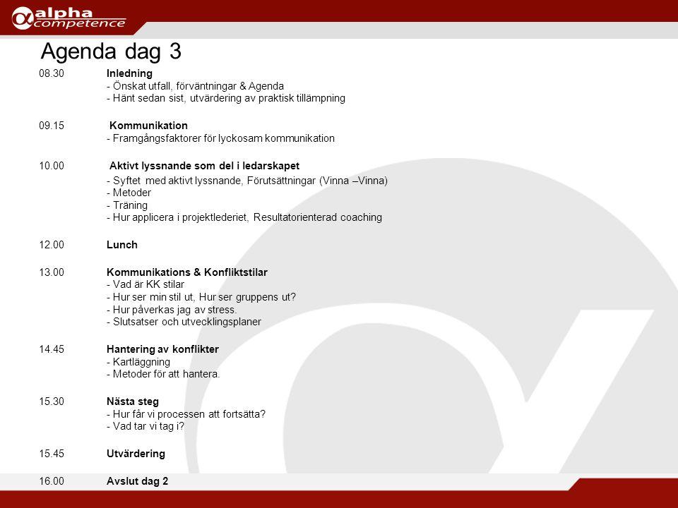 Agenda dag 3 08.30Inledning - Önskat utfall, förväntningar & Agenda - Hänt sedan sist, utvärdering av praktisk tillämpning 09.15 Kommunikation - Framgångsfaktorer för lyckosam kommunikation 10.00 Aktivt lyssnande som del i ledarskapet - Syftet med aktivt lyssnande, Förutsättningar (Vinna –Vinna) - Metoder - Träning - Hur applicera i projektlederiet, Resultatorienterad coaching 12.00 Lunch 13.00Kommunikations & Konfliktstilar - Vad är KK stilar - Hur ser min stil ut, Hur ser gruppens ut.