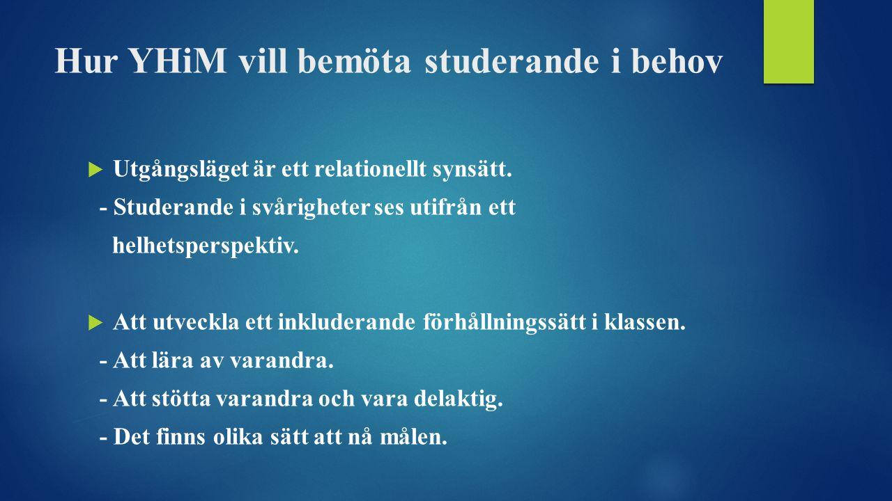 Hur YHiM vill bemöta studerande i behov  Utgångsläget är ett relationellt synsätt.