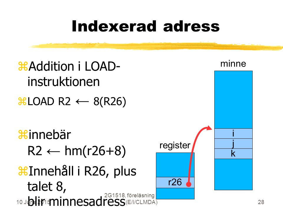 10 June 2015 2G1518, föreläsning 3, vt2007 (E/I/CLMDA)28 Indexerad adress zAddition i LOAD- instruktionen zLOAD R2 ← 8(R26) zinnebär R2 ← hm(r26+8) zInnehåll i R26, plus talet 8, blir minnesadress minne i j k register r26