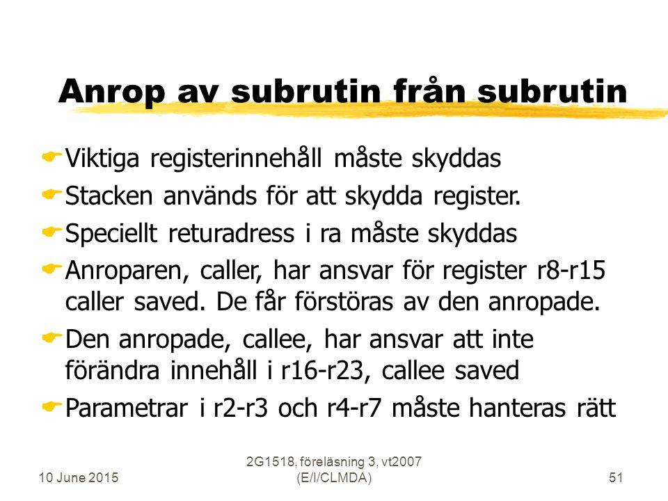 10 June 2015 2G1518, föreläsning 3, vt2007 (E/I/CLMDA)51 Anrop av subrutin från subrutin  Viktiga registerinnehåll måste skyddas  Stacken används för att skydda register.