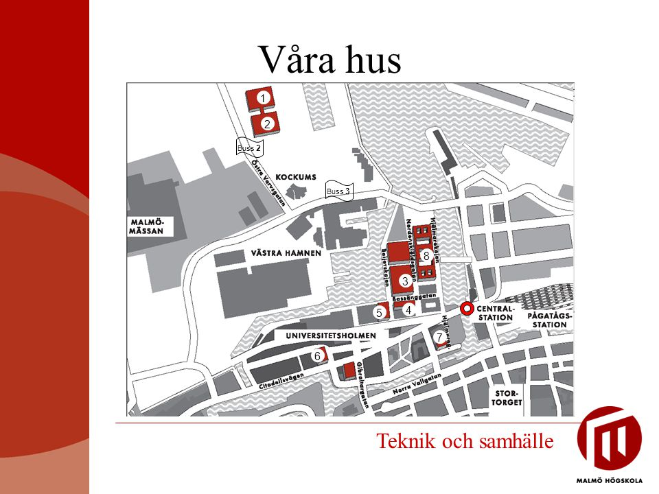 Våra hus Buss 2 2 1 3 4 8 6 7 Buss 3 5 Teknik och samhälle