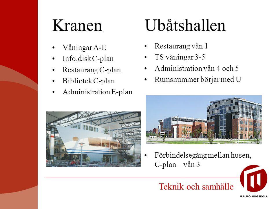 Kranen Ubåtshallen Restaurang vån 1 TS våningar 3-5 Administration vån 4 och 5 Rumsnummer börjar med U Våningar A-E Info.disk C-plan Restaurang C-plan