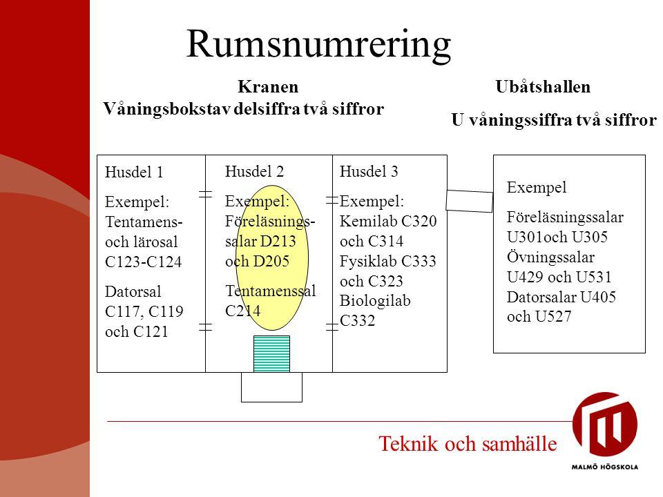 Rumsnumrering Kranen Våningsbokstav delsiffra två siffror Ubåtshallen U våningssiffra två siffror Husdel 1Exempel:Tentamens-och lärosalC123-C124Dators