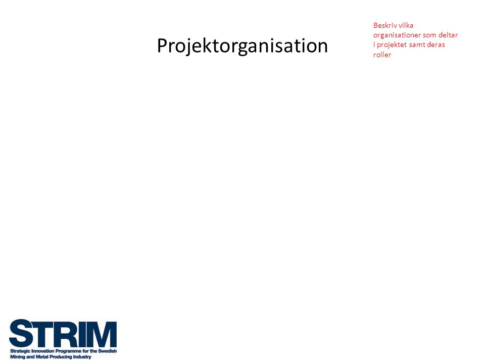 Projektorganisation Beskriv vilka organisationer som deltar i projektet samt deras roller
