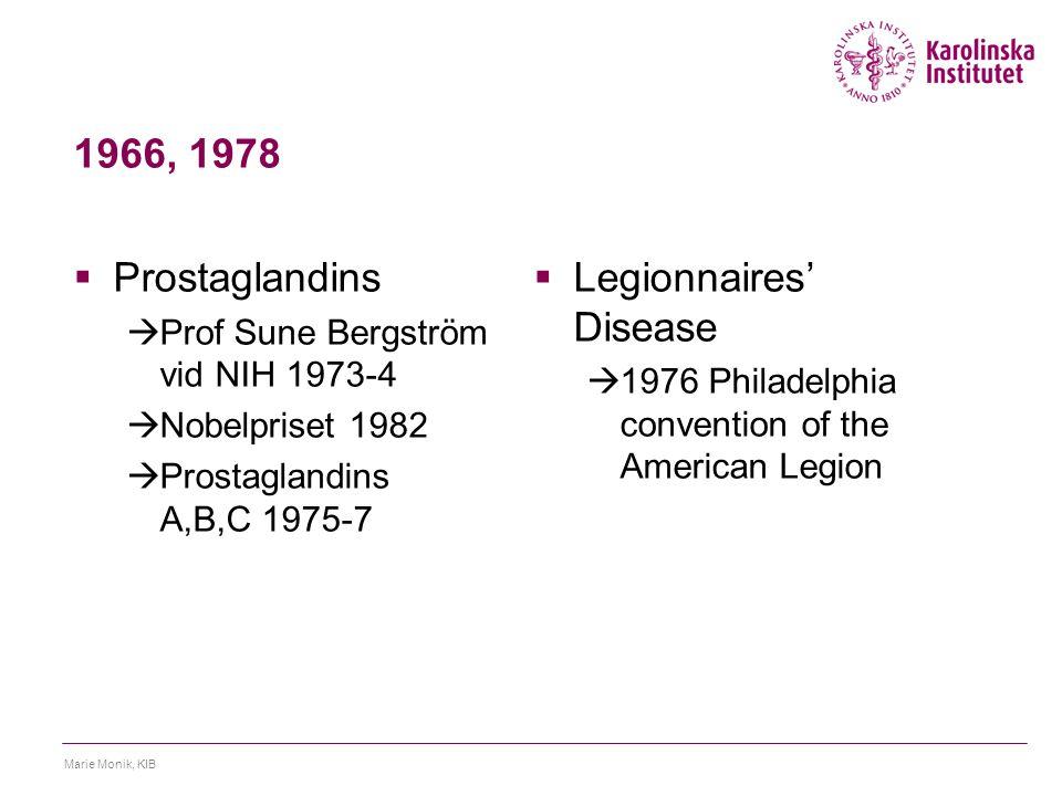 1966, 1978  Prostaglandins  Prof Sune Bergström vid NIH 1973-4  Nobelpriset 1982  Prostaglandins A,B,C 1975-7  Legionnaires' Disease  1976 Philadelphia convention of the American Legion Marie Monik, KIB