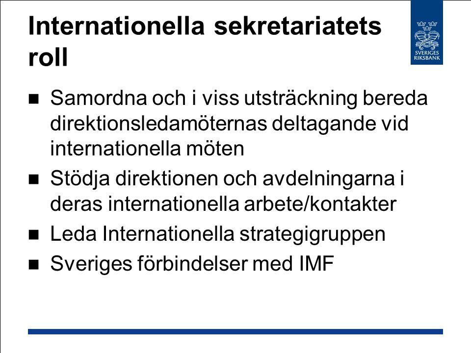 Internationella sekretariatets roll Samordna och i viss utsträckning bereda direktionsledamöternas deltagande vid internationella möten Stödja direktionen och avdelningarna i deras internationella arbete/kontakter Leda Internationella strategigruppen Sveriges förbindelser med IMF