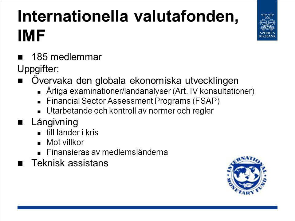 Internationella valutafonden, IMF 185 medlemmar Uppgifter: Övervaka den globala ekonomiska utvecklingen Årliga examinationer/landanalyser (Art.