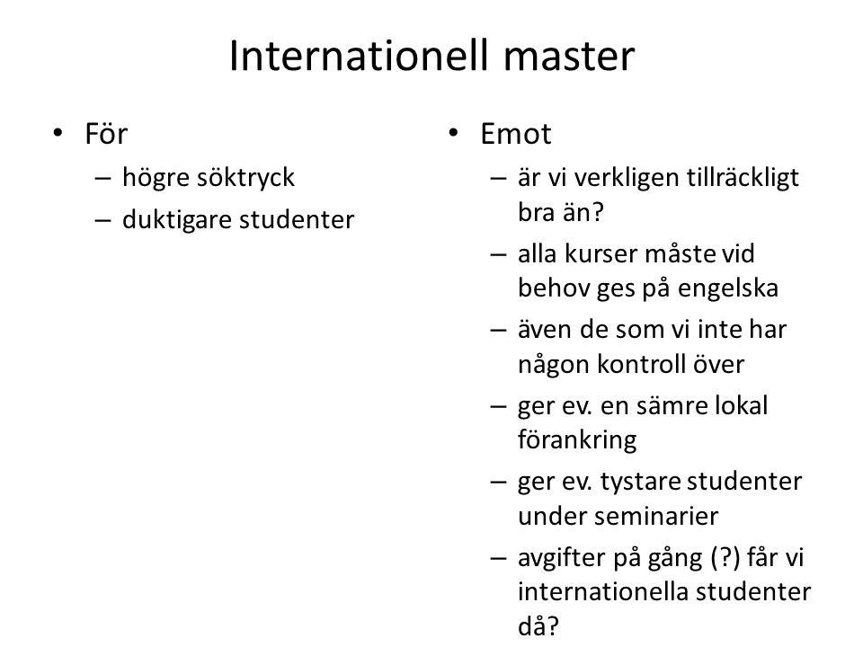 Internationell master För – högre söktryck – duktigare studenter Emot – är vi verkligen tillräckligt bra än? – alla kurser måste vid behov ges på enge