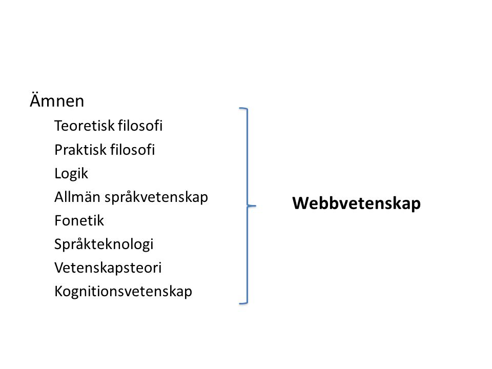 Tillvalskurser Logik Webbteknologi II Semantiska webben Informationssökning (?) Etik (?) Språket, individen och samhället (?) Pragmatik (?) Sociolingvistik (?) Vetenskapteori – fokus på e-vetenskap (?)