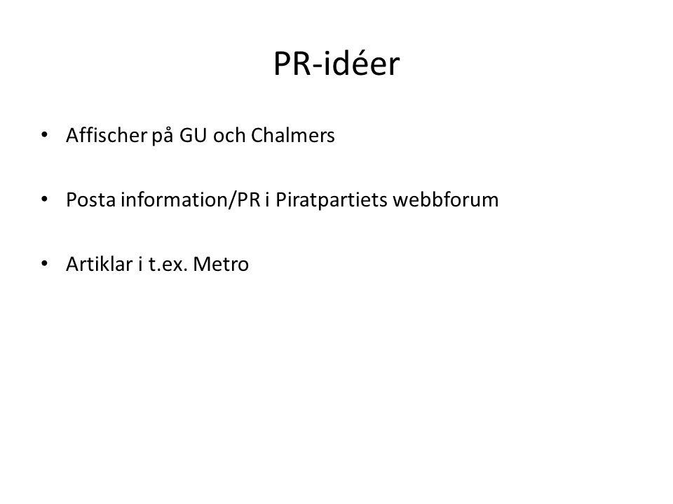 PR-idéer Affischer på GU och Chalmers Posta information/PR i Piratpartiets webbforum Artiklar i t.ex. Metro