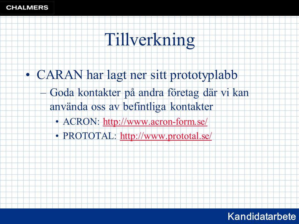 Kandidatarbete Tillverkning CARAN har lagt ner sitt prototyplabb –Goda kontakter på andra företag där vi kan använda oss av befintliga kontakter ACRON: http://www.acron-form.se/http://www.acron-form.se/ PROTOTAL: http://www.prototal.se/http://www.prototal.se/