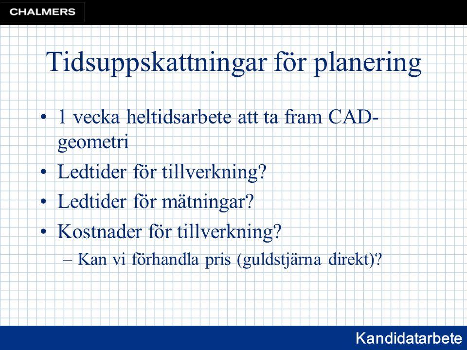 Kandidatarbete Tidsuppskattningar för planering 1 vecka heltidsarbete att ta fram CAD- geometri Ledtider för tillverkning.
