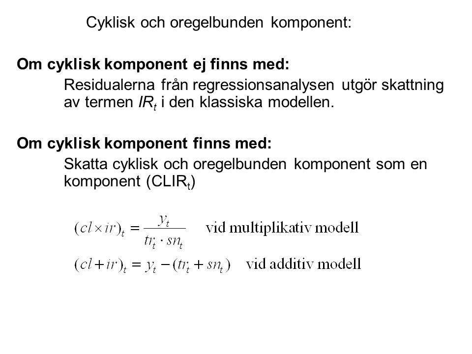 Cyklisk och oregelbunden komponent: Om cyklisk komponent ej finns med: Residualerna från regressionsanalysen utgör skattning av termen IR t i den klassiska modellen.