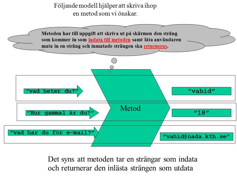 Följande modell hjälper att skriva ihop en metod som vi önskar.