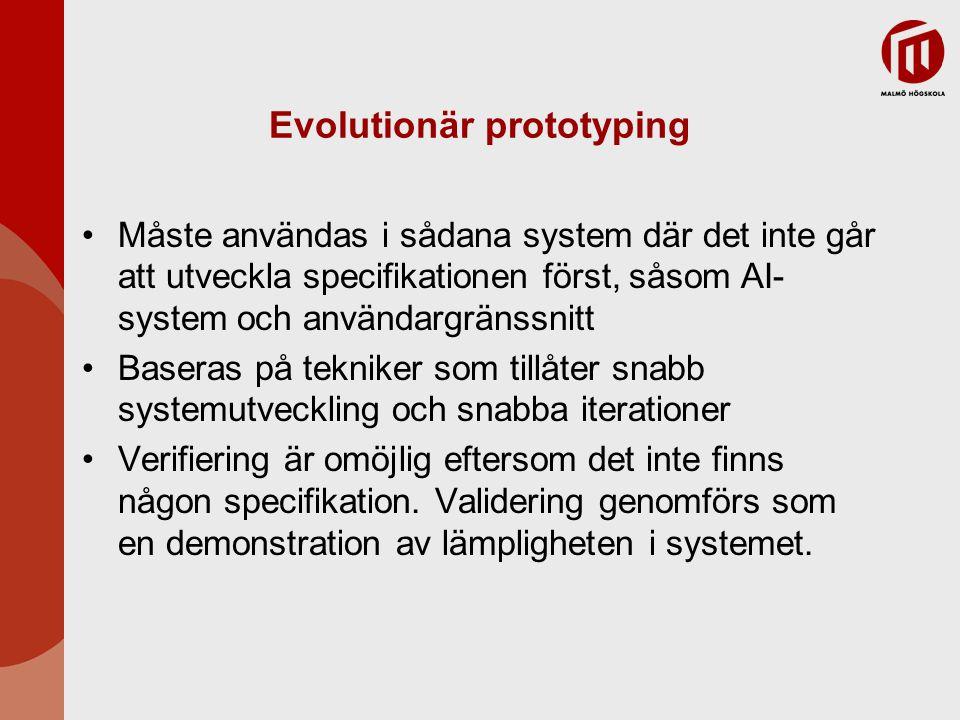 Evolutionär prototyping Måste användas i sådana system där det inte går att utveckla specifikationen först, såsom AI- system och användargränssnitt Baseras på tekniker som tillåter snabb systemutveckling och snabba iterationer Verifiering är omöjlig eftersom det inte finns någon specifikation.