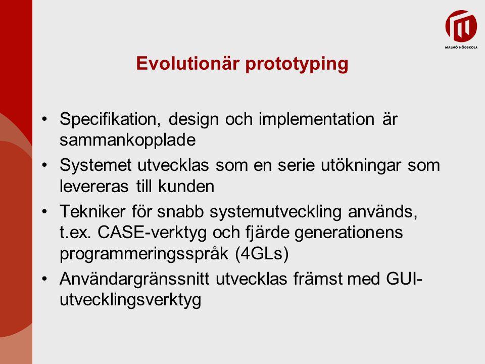 Evolutionär prototyping Specifikation, design och implementation är sammankopplade Systemet utvecklas som en serie utökningar som levereras till kunden Tekniker för snabb systemutveckling används, t.ex.