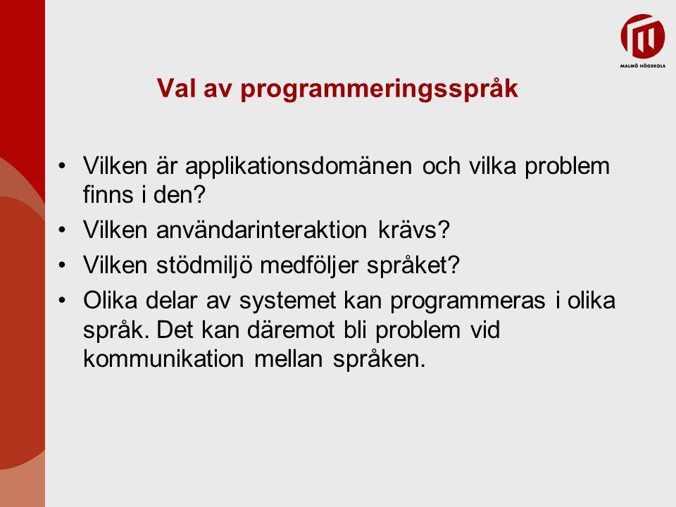 Val av programmeringsspråk Vilken är applikationsdomänen och vilka problem finns i den.