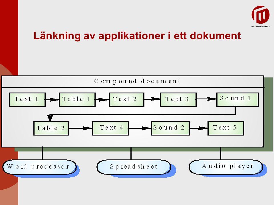 Länkning av applikationer i ett dokument