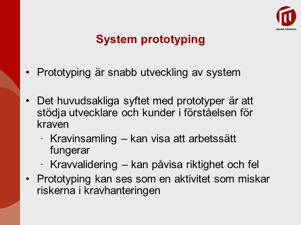 System prototyping Prototyping är snabb utveckling av system Det huvudsakliga syftet med prototyper är att stödja utvecklare och kunder i förståelsen för kraven ∙ Kravinsamling – kan visa att arbetssätt fungerar ∙ Kravvalidering – kan påvisa riktighet och fel Prototyping kan ses som en aktivitet som miskar riskerna i kravhanteringen