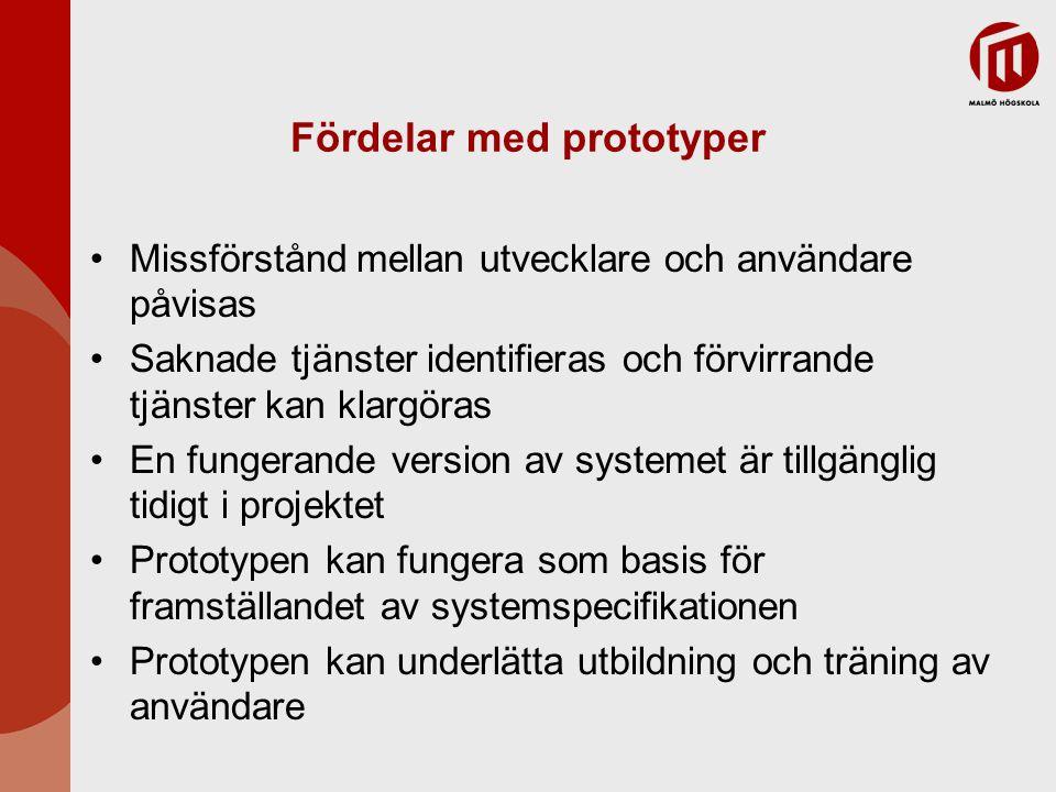 Prototyper för användargränssnitt Det är omöjligt att förutbestämma look-and-feel för ett användargränssnitt på ett effektivt sätt – användning av prototyper är en förutsättning UI (user-interface) utveckling förbrukar en ökande mängd av systemutvecklingens kostnader UI generatorer kan användas för att rita gränssnittet och simulerar dess funktionalitet med komponenter associerade med gränssnittet Prototyper för Webbgränssnitt kan utvecklas med Webbside-editorer