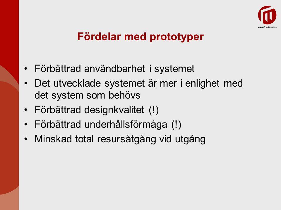 Prototyping i utvecklingsprocessen Evolutionary prototyping ∙ En typ av systemutveckling där den initiala prototypen utvecklas och förbättras genom ett antal faser tills det blir det slutgiltiga systemet Throw-away prototyping ∙ En prototyp som används för att besvara frågeställningar om t.ex.