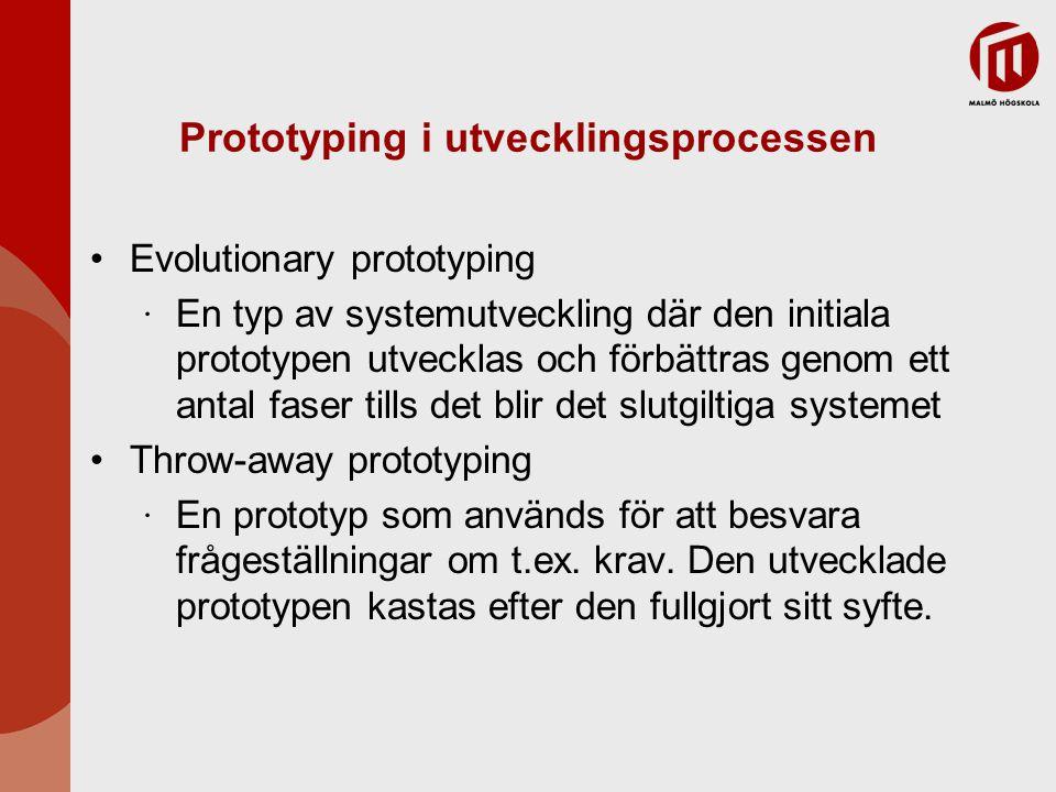 Prototyper med återanvändning Applikationsnivå ∙ Hela systemet är integrerat med prototypen så att dess funktionalitet delas ∙ T.ex.