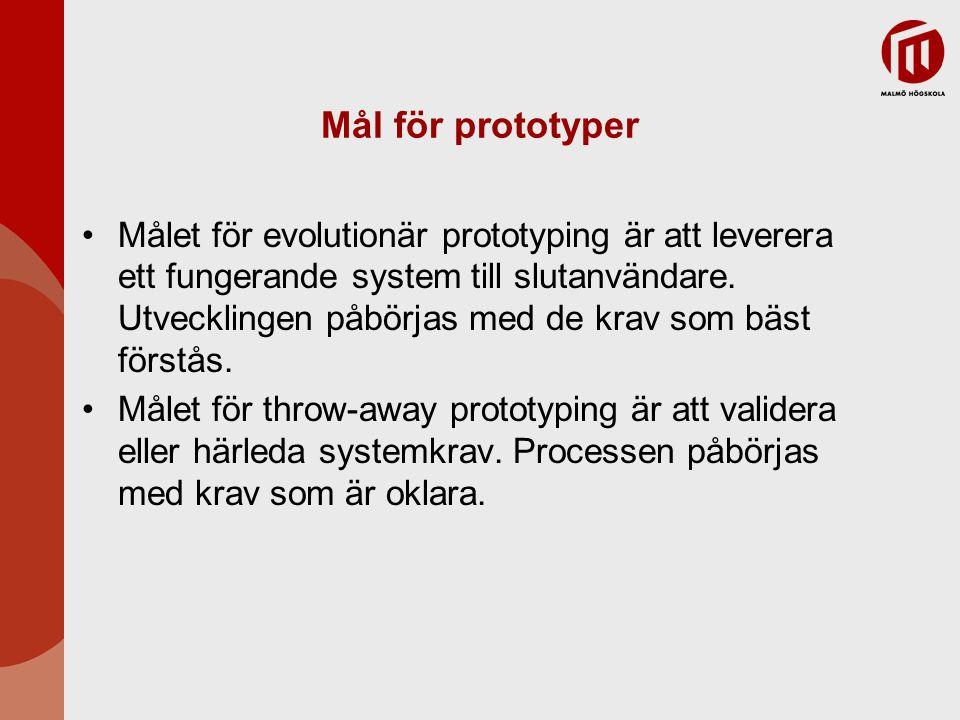Mål för prototyper Målet för evolutionär prototyping är att leverera ett fungerande system till slutanvändare.