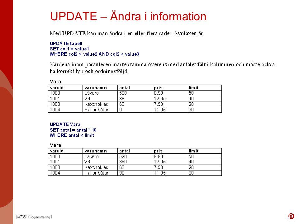 DA7351 Programmering 1 UPDATE – Ändra i information