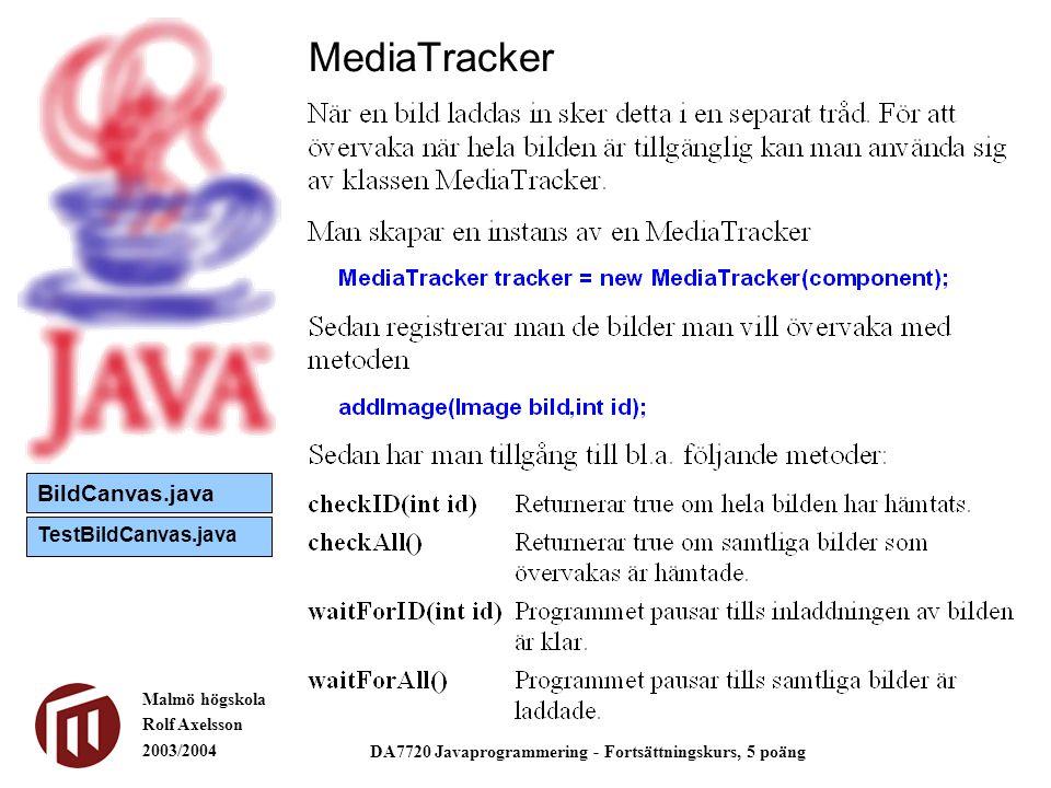 Malmö högskola Rolf Axelsson 2003/2004 DA7720 Javaprogrammering - Fortsättningskurs, 5 poäng MediaTracker BildCanvas.java TestBildCanvas.java