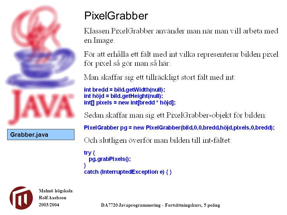 Malmö högskola Rolf Axelsson 2003/2004 DA7720 Javaprogrammering - Fortsättningskurs, 5 poäng PixelGrabber Grabber.java