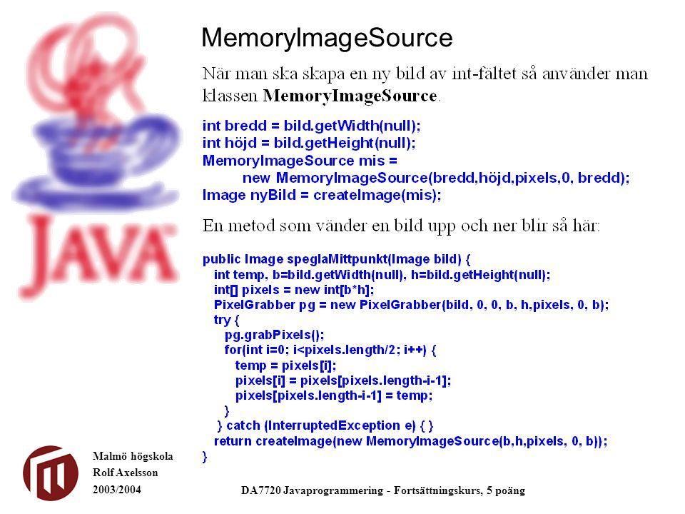Malmö högskola Rolf Axelsson 2003/2004 DA7720 Javaprogrammering - Fortsättningskurs, 5 poäng MemoryImageSource