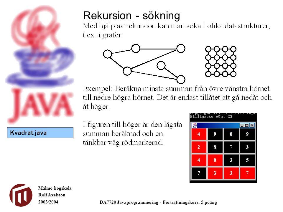 Malmö högskola Rolf Axelsson 2003/2004 DA7720 Javaprogrammering - Fortsättningskurs, 5 poäng Rekursion - sökning Kvadrat.java