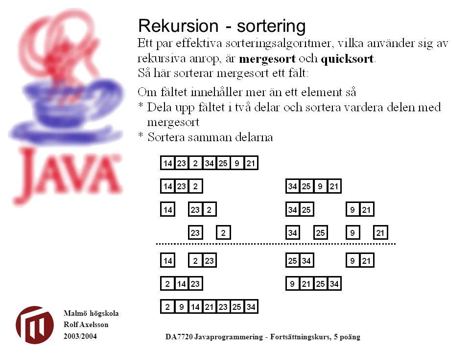 Malmö högskola Rolf Axelsson 2003/2004 DA7720 Javaprogrammering - Fortsättningskurs, 5 poäng Rekursion - sortering