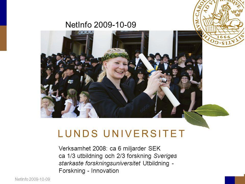 NetInfo 2009-10-09 L U N D S U N I V E R S I T E T NetInfo 2009-10-09 Verksamhet 2008: ca 6 miljarder SEK ca 1/3 utbildning och 2/3 forskning Sveriges starkaste forskningsuniversitet Utbildning - Forskning - Innovation