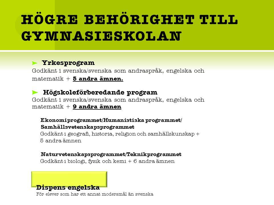 HÖGRE BEHÖRIGHET TILL GYMNASIESKOLAN Yrkesprogram Godkänt i svenska/svenska som andraspråk, engelska och matematik + 5 andra ämnen.