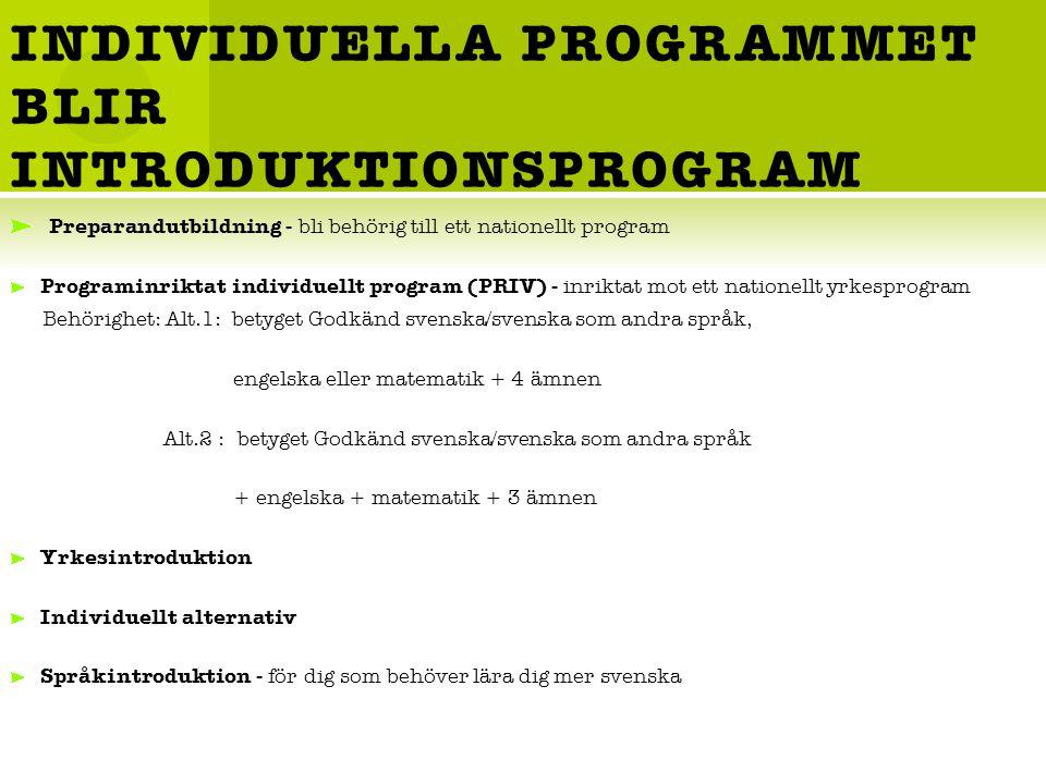 INDIVIDUELLA PROGRAMMET BLIR INTRODUKTIONSPROGRAM Preparandutbildning - bli behörig till ett nationellt program Programinriktat individuellt program (PRIV) - inriktat mot ett nationellt yrkesprogram Behörighet: Alt.1: betyget Godkänd svenska/svenska som andra språk, engelska eller matematik + 4 ämnen Alt.2 : betyget Godkänd svenska/svenska som andra språk + engelska + matematik + 3 ämnen Yrkesintroduktion Individuellt alternativ Språkintroduktion - för dig som behöver lära dig mer svenska