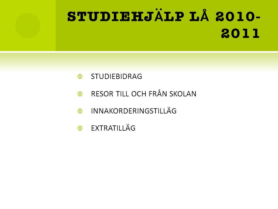 STUDIEHJ Ä LP L Å 2010- 2011  STUDIEBIDRAG  RESOR TILL OCH FRÅN SKOLAN  INNAKORDERINGSTILLÄG  EXTRATILLÄG