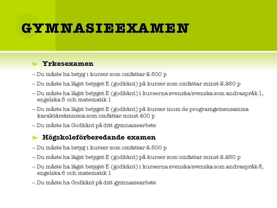 GYMNASIEEXAMEN Yrkesexamen – Du måste ha betyg i kurser som omfattar 2.500 p – Du måste ha lägst betyget E (godkänt) på kurser som omfattar minst 2.250 p – Du måste ha lägst betyget E (godkänt) i kurserna svenska/svenska som andraspråk 1, engelska 5 och matematik 1 – Du måste ha lägst betyget E (godkänt) på kurser inom de programgemensamma karaktärsämnena som omfattar minst 400 p – Du måste ha Godkänt på ditt gymnasiearbete Högskoleförberedande examen – Du måste ha betyg i kurser som omfattar 2.500 p – Du måste ha lägst betyget E (godkänt) på kurser som omfattar minst 2.250 p – Du måste ha lägst betyget E (godkänt) i kurserna svenska/svenska som andraspråk 3, engelska 6 och matematik 1 – Du måste ha Godkänt på ditt gymnasiearbete