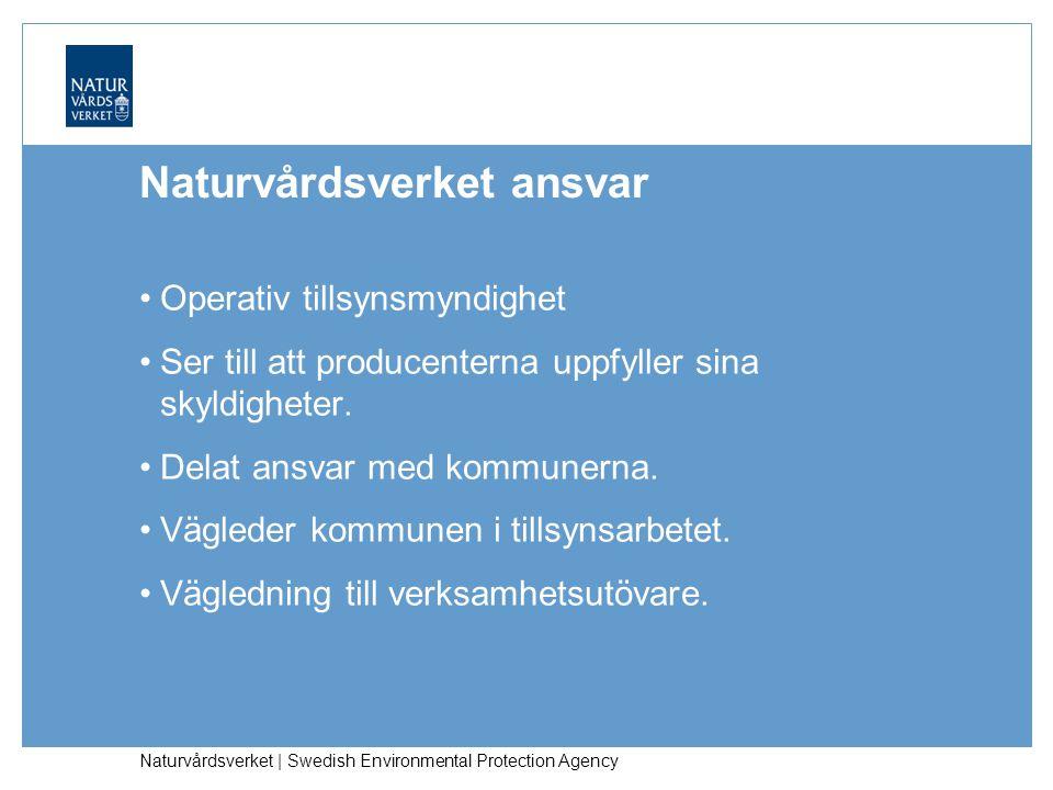 Naturvårdsverket | Swedish Environmental Protection Agency Naturvårdsverket ansvar Operativ tillsynsmyndighet Ser till att producenterna uppfyller sina skyldigheter.