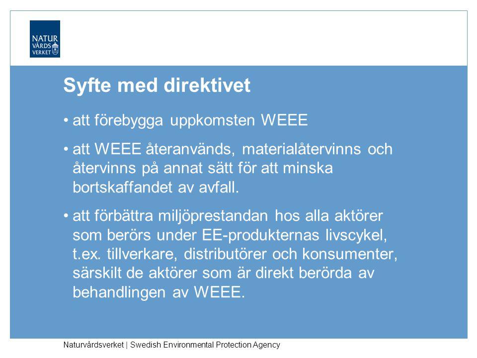 Naturvårdsverket | Swedish Environmental Protection Agency Syfte med direktivet att förebygga uppkomsten WEEE att WEEE återanvänds, materialåtervinns och återvinns på annat sätt för att minska bortskaffandet av avfall.
