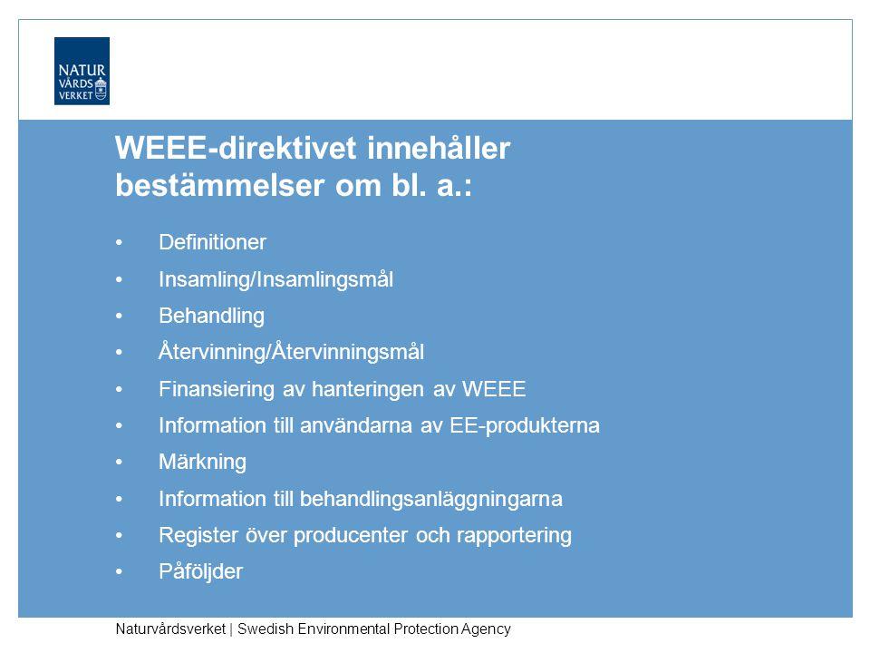 Naturvårdsverket | Swedish Environmental Protection Agency WEEE-lagstiftning i Sverige – implementeringen av WEEE-direktivet Förordningen (2005:209) om producentansvar för elektriska och elektroniska produkter.