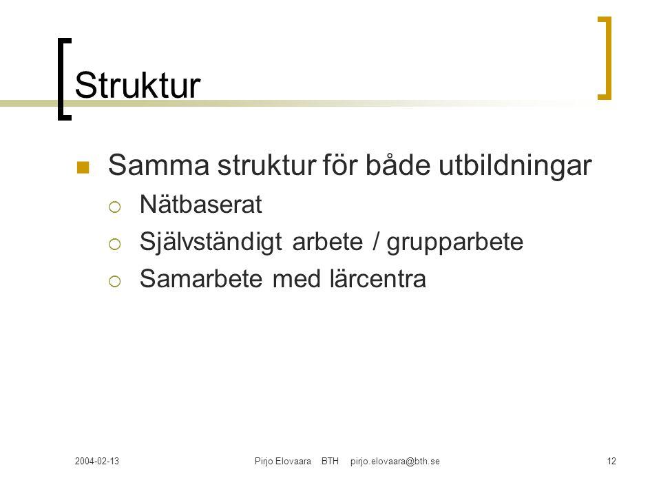 2004-02-13Pirjo Elovaara BTH pirjo.elovaara@bth.se12 Struktur Samma struktur för både utbildningar  Nätbaserat  Självständigt arbete / grupparbete 