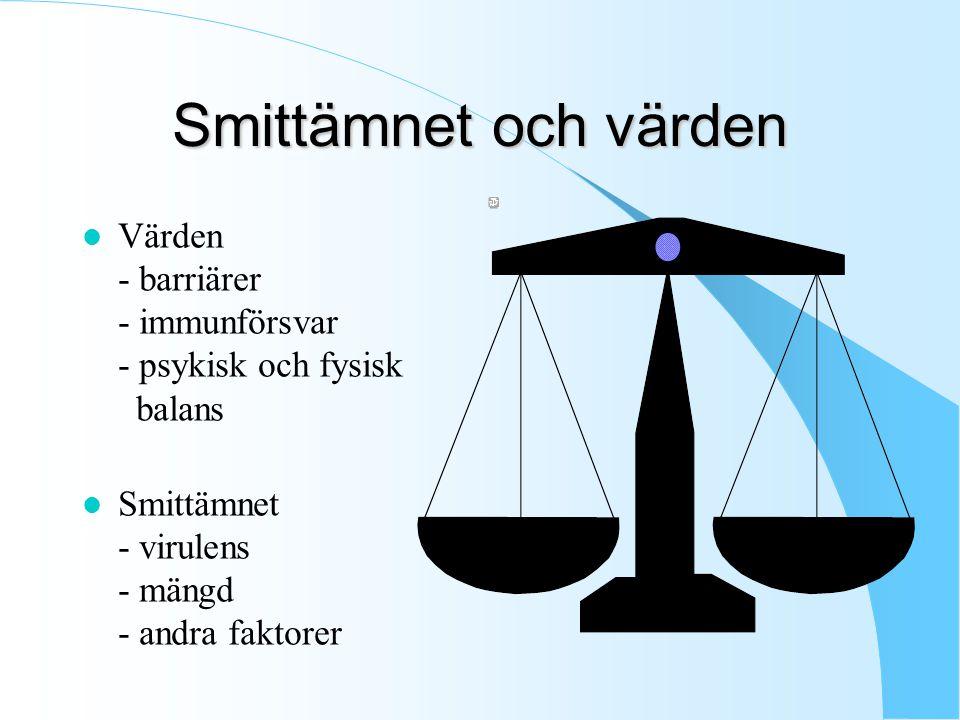 Smittämnet och värden l Värden - barriärer - immunförsvar - psykisk och fysisk balans l Smittämnet - virulens - mängd - andra faktorer