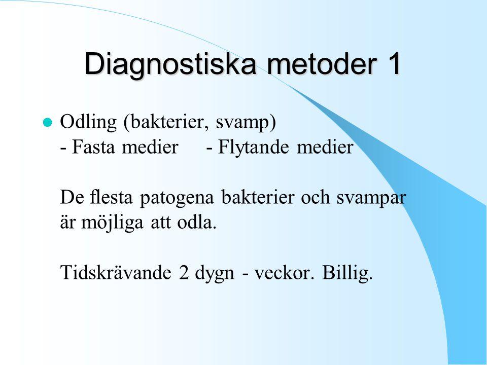 Diagnostiska metoder 1 l Odling (bakterier, svamp) - Fasta medier - Flytande medier De flesta patogena bakterier och svampar är möjliga att odla.